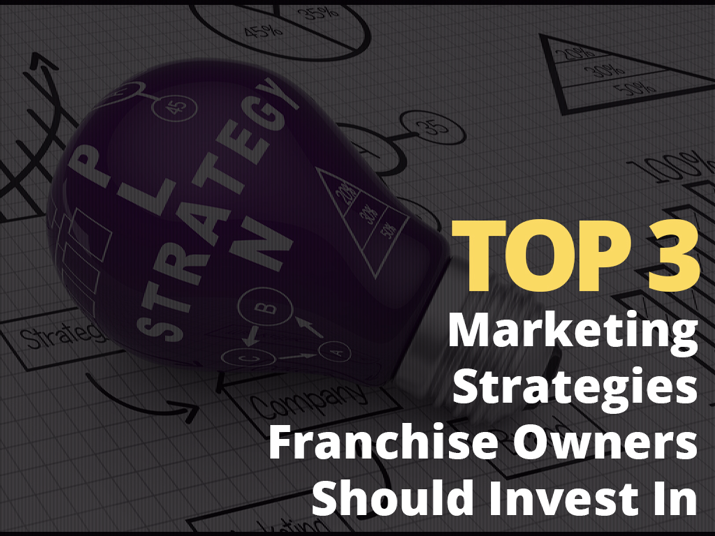 The words Top three Marketing Strategies franchise owners should invest in superimposed over the image of a light bulb lying on a work table.